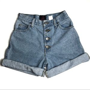 Sasson Vintage High Waisted Button Fly Jean Shorts